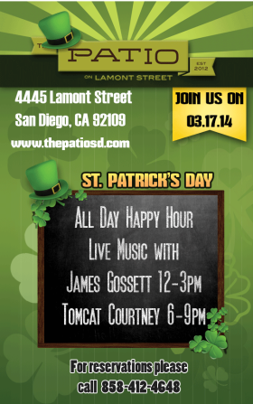 St. Patrick's Day 2014 – All Day Happy Hour @ The Patio